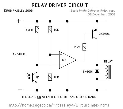 Photo Detector Circuit. Schematic by Rob Paisley, used with permission.