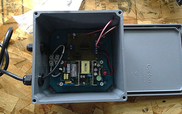 I had originally anticipated the electronics being outside, so they were mounted in a weatherproof enclosure.