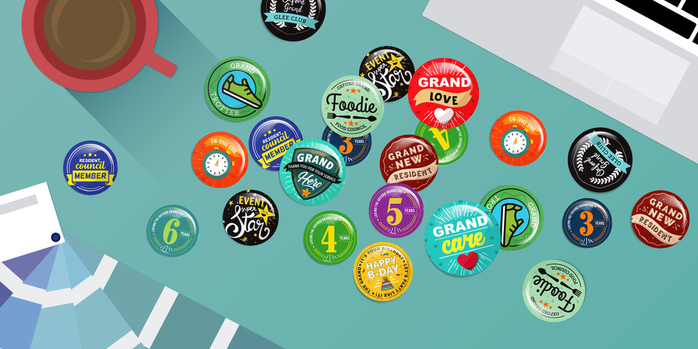 Above is a collection of buttons created for The Oxford Grand (A Oxford Senior Living product) in Wichita KS. These are a part of their resident and team member reward program.