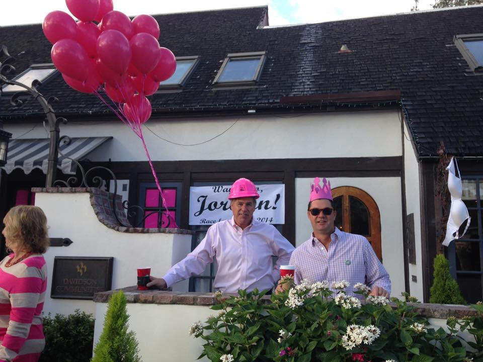 Bill Davidson and Tim O'Grady cheering on the team at the  Susan G. Koman Race For The Cure .