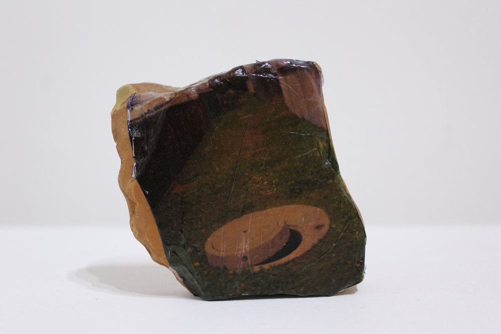 James Rhodes,  Open Up , photo emulsion and rock, 8x9x4cm