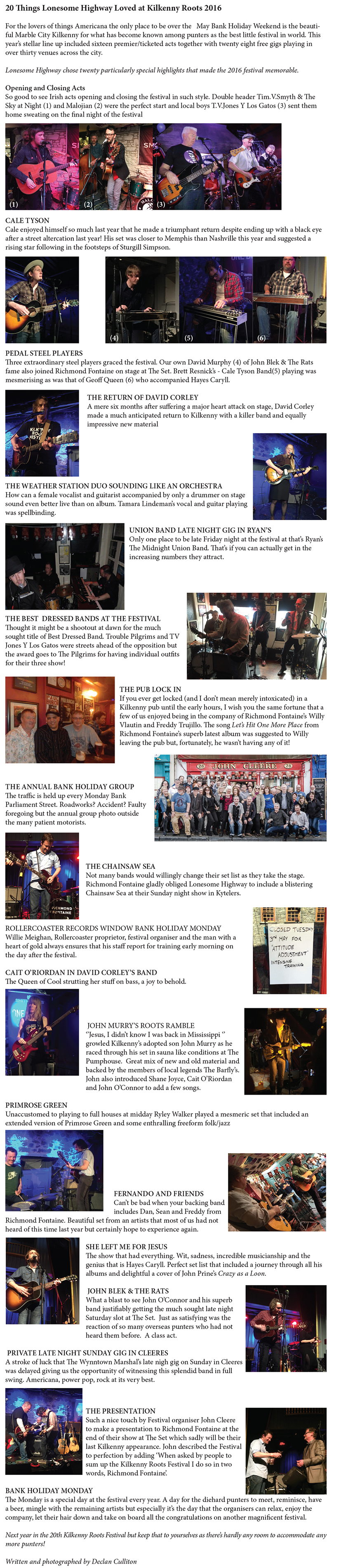 Kilkenny Rhythm & Roots 29th April-2nd May 2016 — Lonesome Highway
