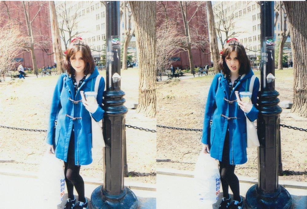 Pretending to look studious in Washington Square Park