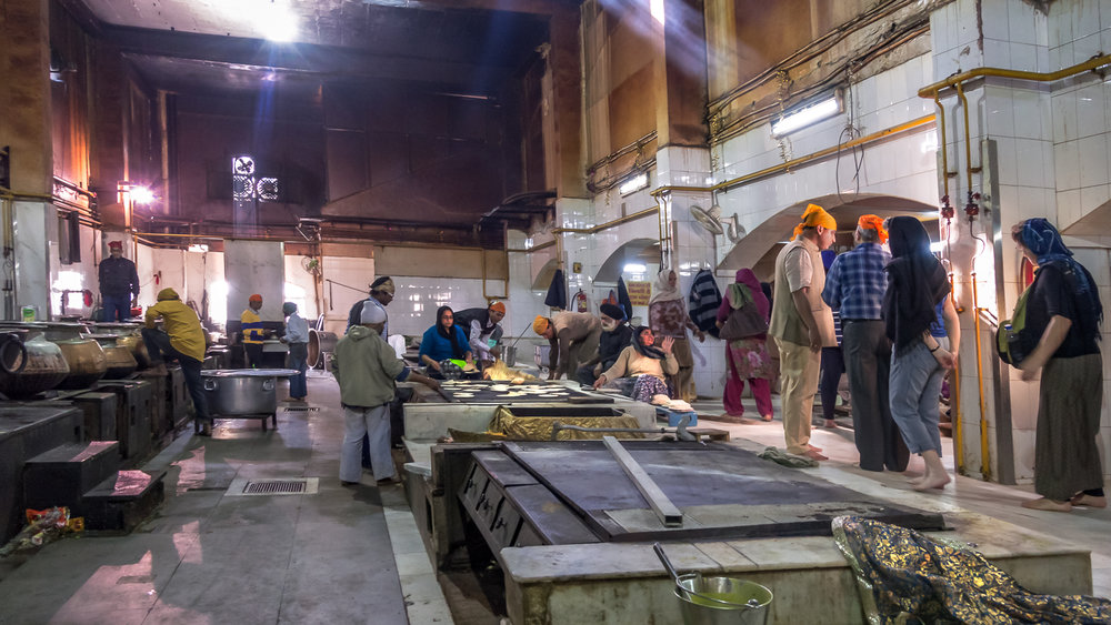Community kitchen at a Sikh temple in Delhi