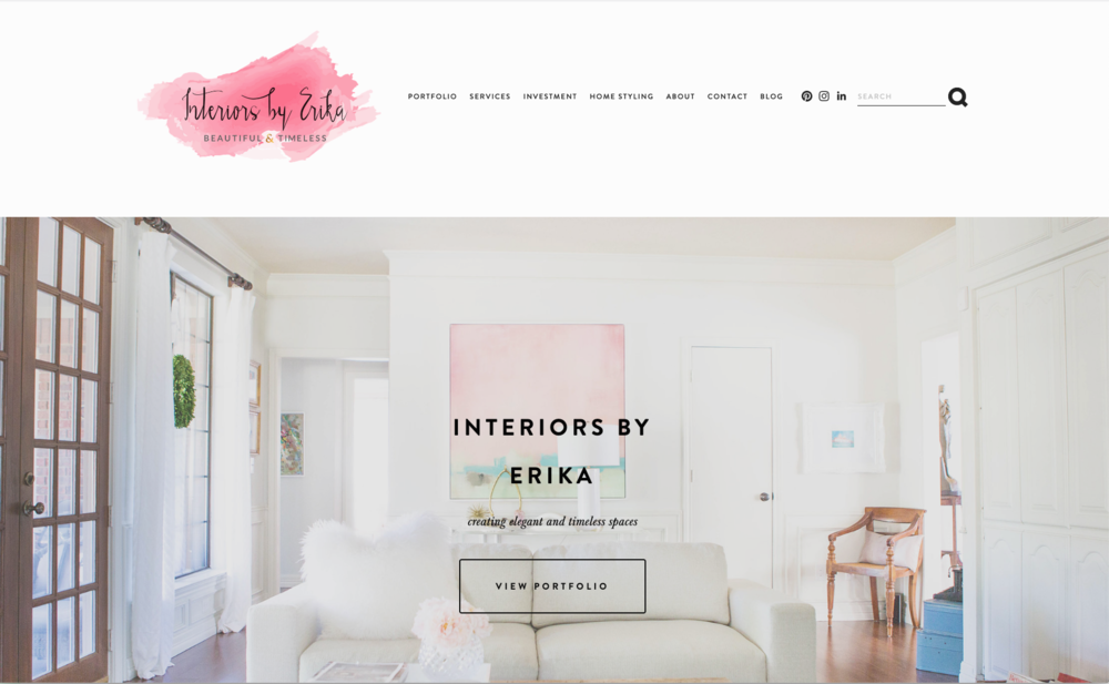 Interiors by Erika - a Squarespace website for an interior decorator.