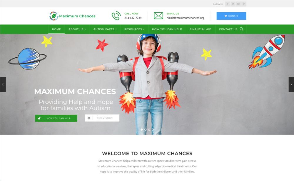 Maximum Chances      - A Wordpress website for an Autism Charity