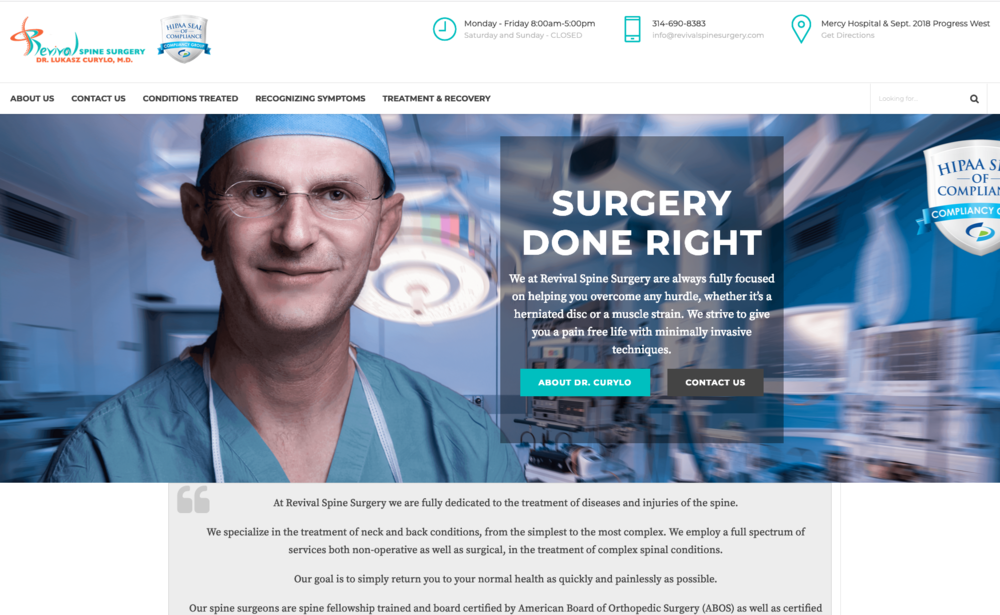 Revival Spine Surgery      - A Wordpress website for a spinal surgeon