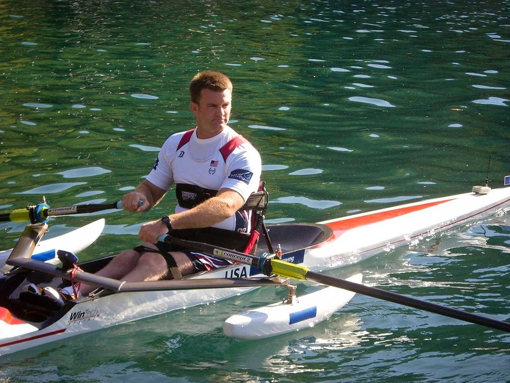 A scull adapted for a rower with lower body limitations: - $7525