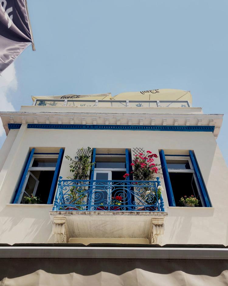 A beautiful balcony above a restaurant