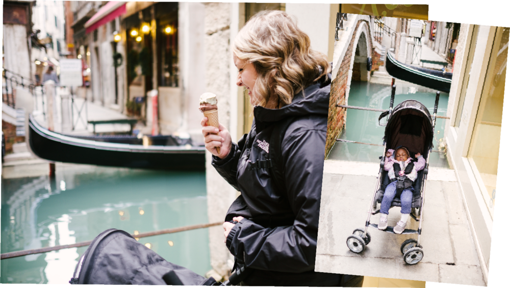 Probably on our 3rd gelato stop of the day… we kept laughing because Char slept through most of Venice!