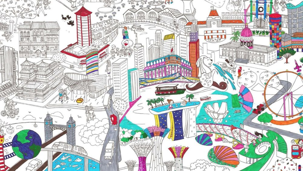 Scribolo - The famous giant colouring poster thats all about adventures in The Little Red Dot.