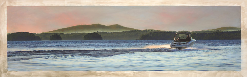 Lake Lanier and Sawnee Mountain. Custom watercolor created and copyright by Bryan White.