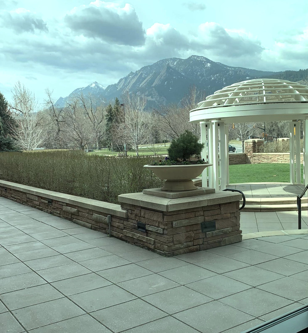 The view from the gallery space, overlooking the Boulder flatirons