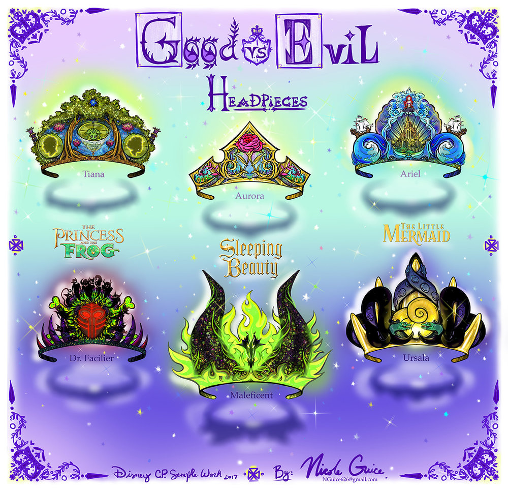 Good vs Evil Headpieces - Disney Princesses CP Concept Spec Work