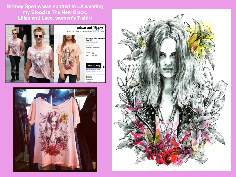 Blood is the New Black x Nicole Guice  - Britney Spears bought the T shirt I designed for Blood is the NeW Black and was spotted wearing it Los Angeles.