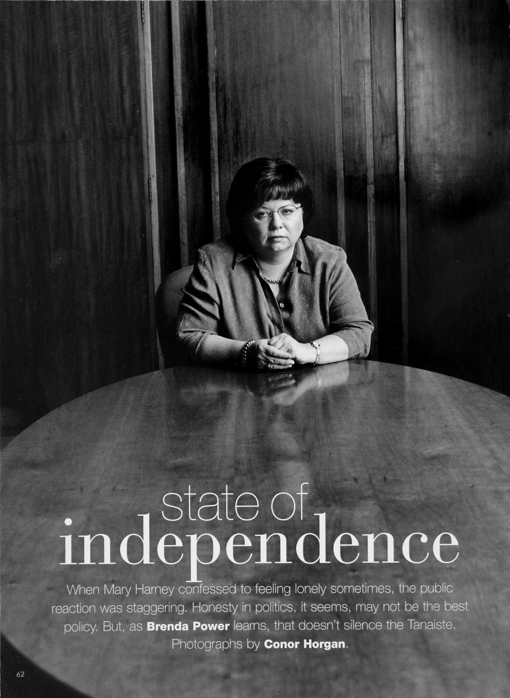 Mary Harney, leader of the Progressive Democrats, for Image Magazine.