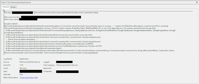 SharePoint 2013, SQL 2014 & PerformancePoint: Could not load