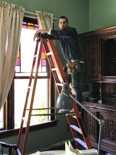 Actor Thomas Beaudoin, as Keane, in the renovation scene.