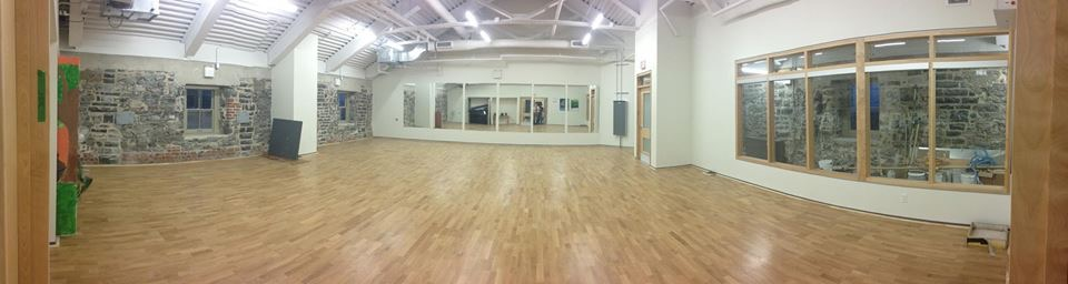 Studio B is 1400 square feet of professional wood sprung ballroom floor. It is divided into 2 separate smaller studios of 700 sq. ft. each on busy teaching nights.