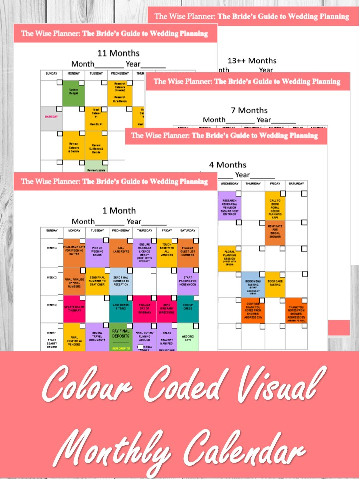MONTHLY VISUAL CALENDAR - SPECIFIC TASKS MONTH TO MONTHVENUE AND VENDOR BOOKINGS EVENLY SPACEDCOLOUR CODED SECTIONSVISUALLY APPEALING