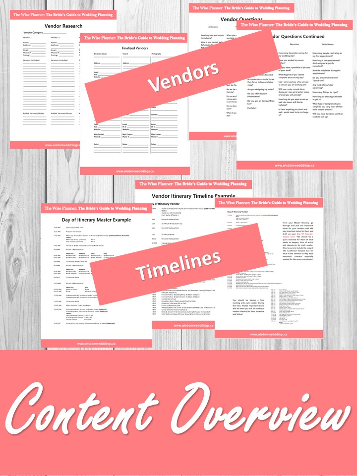HANDS ON PREPARATION - COLLATED WORKBOOK FOR PRINTINGWORKSHEET EXAMPLES AND DIRECTIONSDAY OF WEDDING PREP GUIDELINES