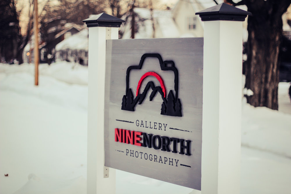 The Gallery Nine North logo we designed. Sign made by Design Function.