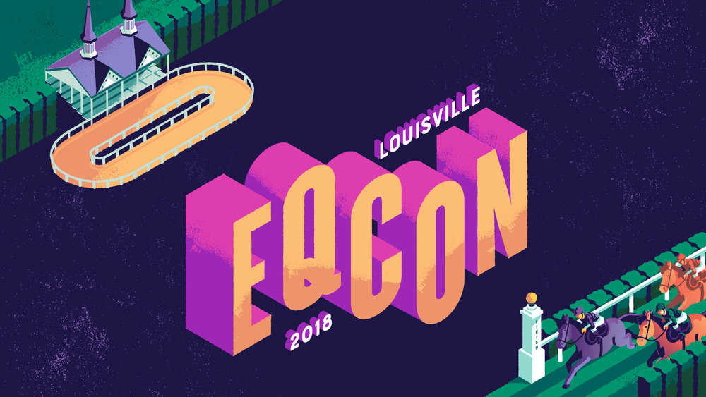New Year, New Look - While designing the poster we realized the original Equestricon logo which is very classic in style with a lot of elegant lines, shapes and typefaces, might not fit with the vibe of the 2018 event. We created some alternate logo lockups, like this one on the left, that would better fit their aesthetic.