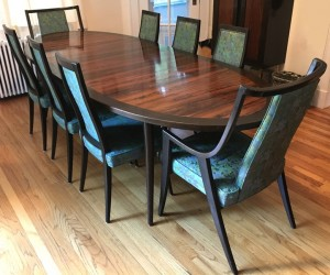 Rosewood and mahogany dining table