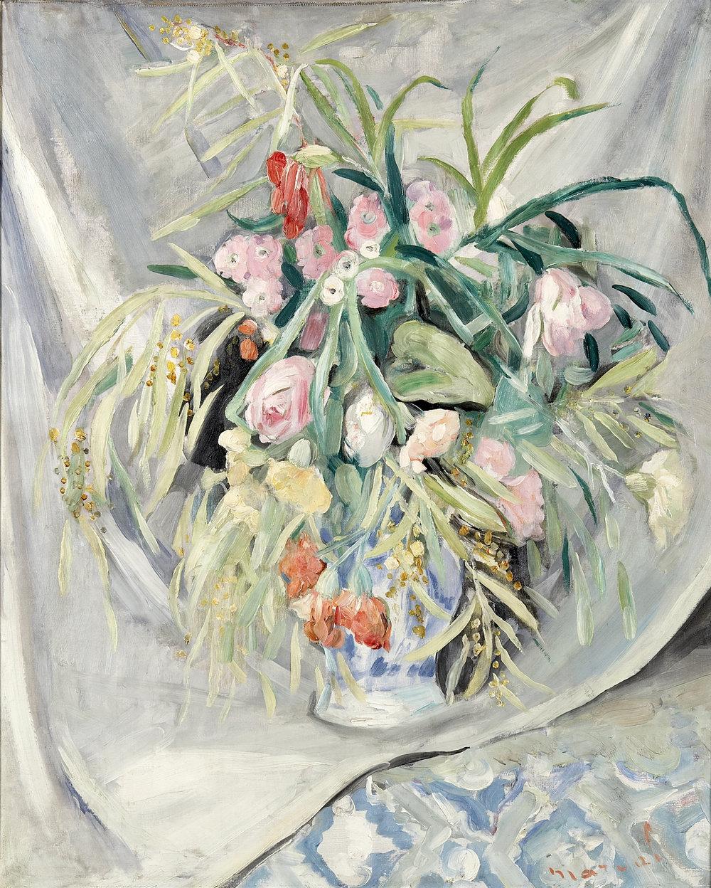 Bouquet au Voile Blanc, c 1925. Huile sur toile, 100 x 80 cm. Collection privée.