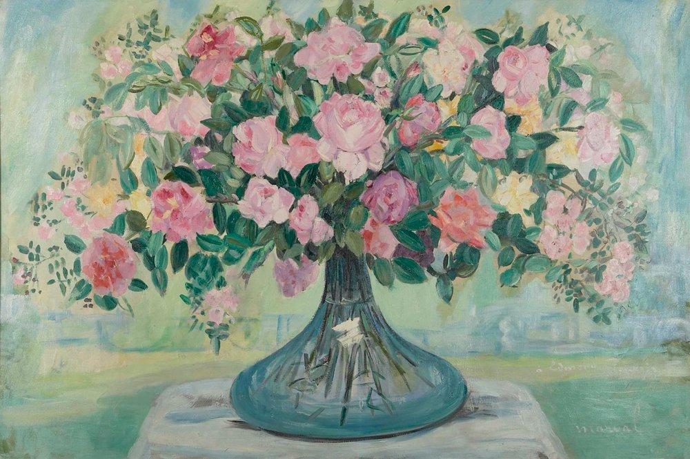 Grand Bouquet de Roses, Jacqueline Marval, c 1920. Huile sur toile, 130 cm x 195 cm. Collection privée, Moscou.