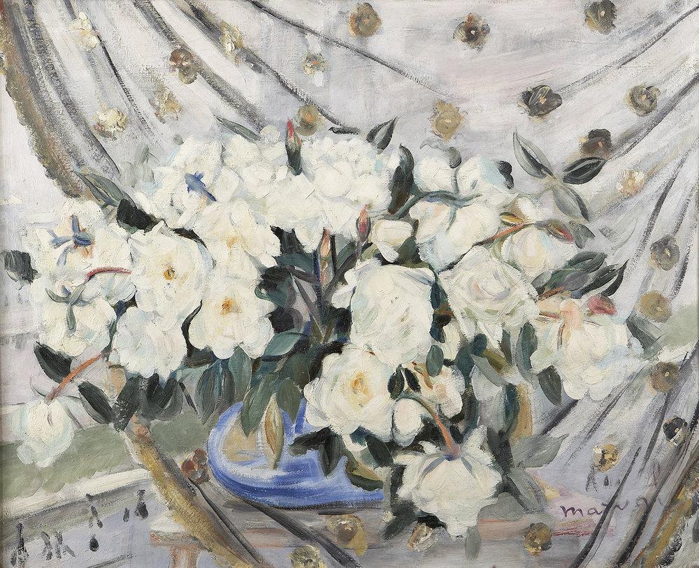 Pivoines Blanches à ma Fenêtre, c 1920. Huile sur toile, 81 cm  x 100 cm. Collection Privée, Paris.