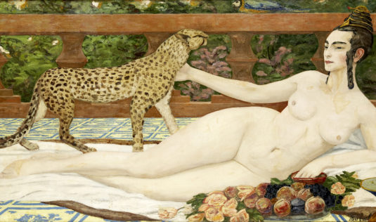 L'Odalisque au Guépard, Jacqueline Marval, 1901. Huile sur toile, 100 x 200 cm.