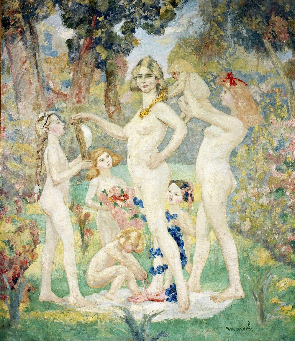 La Toilette du Printemps, Jacqueline Marval. Huile sur toile, 225 x 175 cm. Collection Privée, Grenoble.