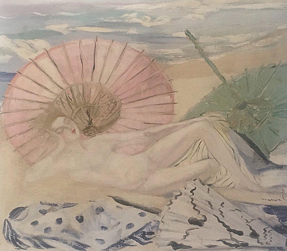 Une Baigneuse endormie, Jacqueline Marval, 1924. Huile sur toile, 110 cm x 122 cm. Collection privée, Grenoble.