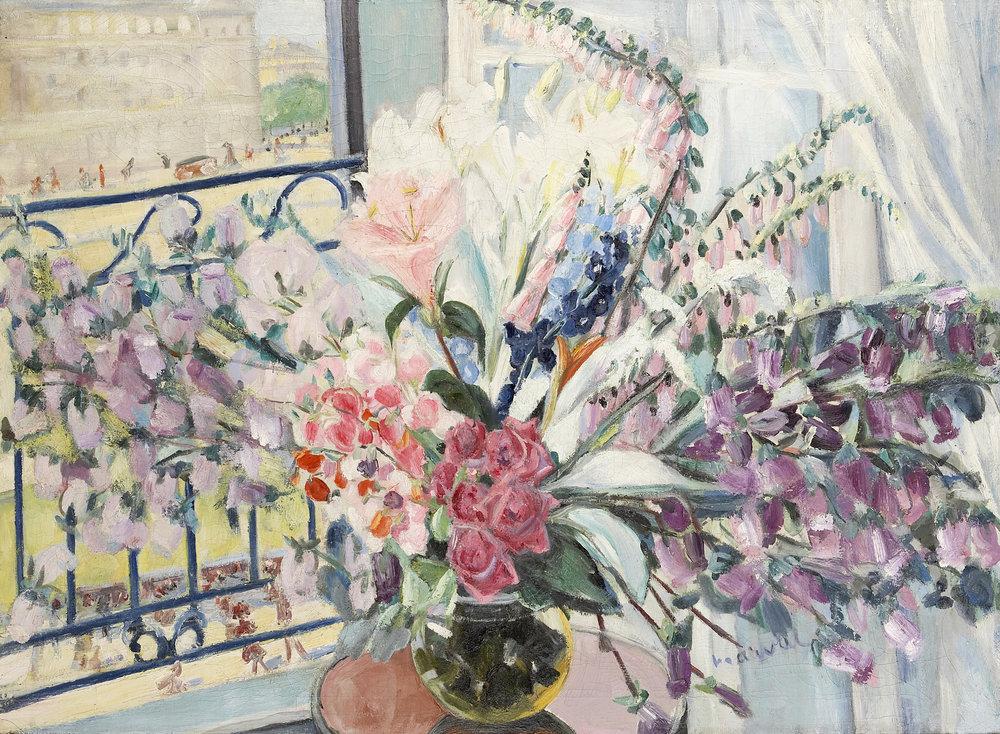 Grand Bouquet à ma Fenêtre, Jacqueline Marval. Huile sur toile, 110 x 150 cm. Collection privée.