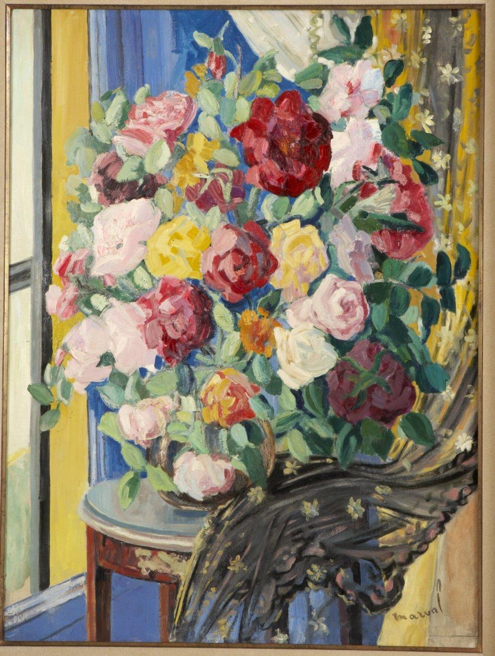 Roses Voile Noir, Jacqueline Marval. Huile sur toile.