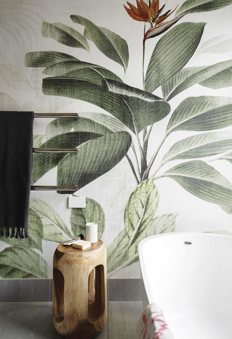 Ensuite  In the ensuite, dramatic 'Botanical Bliss' wallpaper from  Origin Wallpaper gives the impression of looking directly into the garden through a window. Towels,  Empire Homewares .