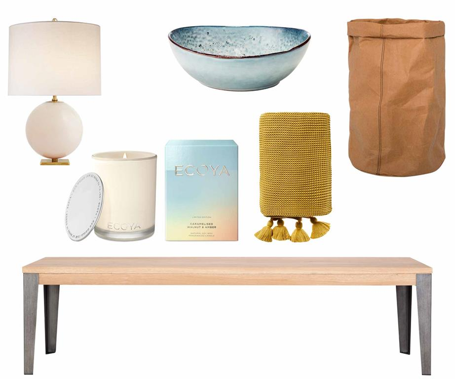 Final polish  Set the scene with textured and colourful finishing touches to suit any space.  Get the look  (clockwise from left) Kate Spade New York for Visual Comfort & Co. 'Elsie' table lamp in Blush Painted Glass, $792,  The Montauk Lighting Co . Nomad soup bowl in Grey, $16.95,  Salt & Pepper . Sax large storage bag, $30,  Freedom . Industrial M bench seat in Graphite, $639,  Curious Grace . WinterEscapes limited-edition candle in Caramelised Walnut & Amber, $49.95,  Ecoya . Home Republic 'Casbah' throw in Mustard, $99.99,  Adairs .