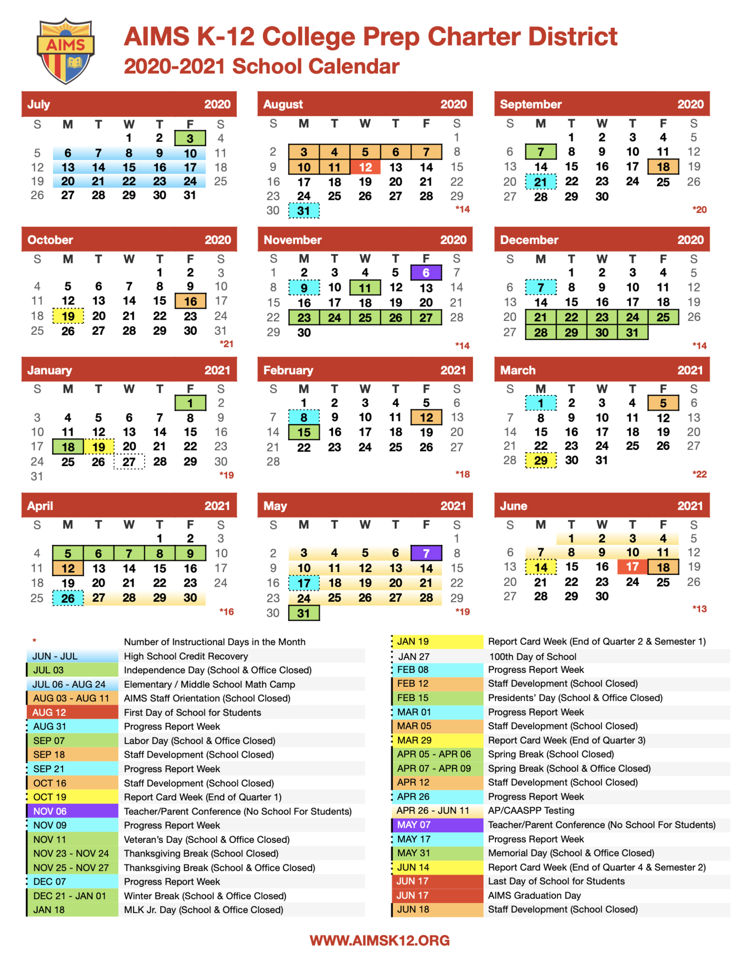 UPDATED: 2020 2021 AIMS K 12 School Calendar — AIMS K 12