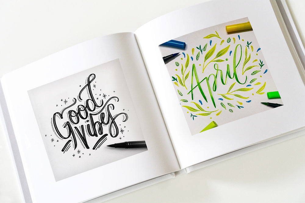 100-days-of-lettering-book-spread-good-vibes-and-april