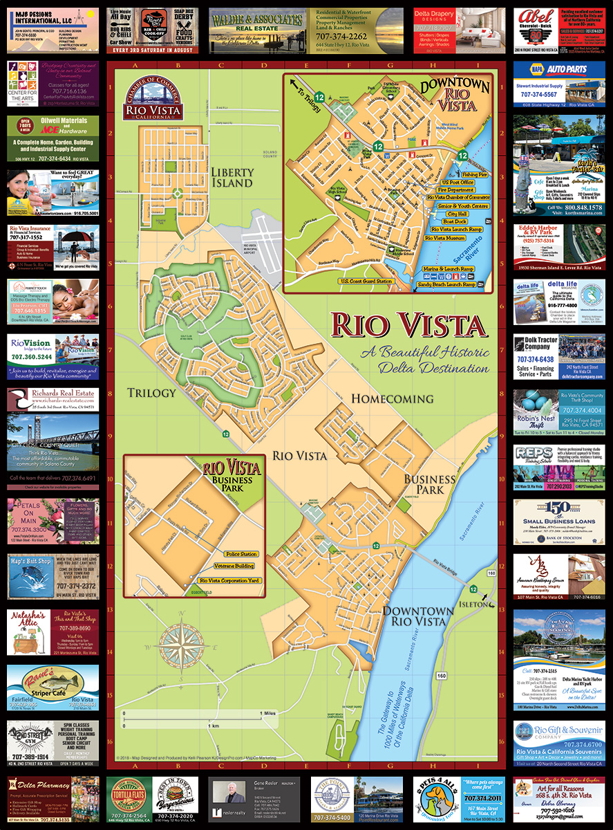 "Rio Vista, CA Chamber of Commerce Map - 24 x 36 (4"" x 9"" folded)"