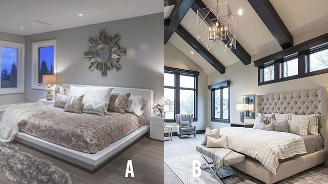 Team short headboard or Team tall headboard? Vote below 👇🏻 A or B?  #bedroom #relax #relaxation #sanctuary #clean #bedroomdesign #wardrobe #dresser #curtains #accentchair #wallart #throwpillow #patern #blinds #towsleyconstruction #yqgrenovations #renovations #designbuild #yqg #windsor #lasalle #amherstburg #tecumseh #lakeshore #519 #226