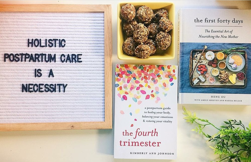 sITTING mOON - POSTPARTUM CAREPicture by @sabrina.wombBooks pictured:The Fourth Trimester by Kimberly Ann Johnson of MagamamasThe First Forty Days by Heng Ou of Motherbees