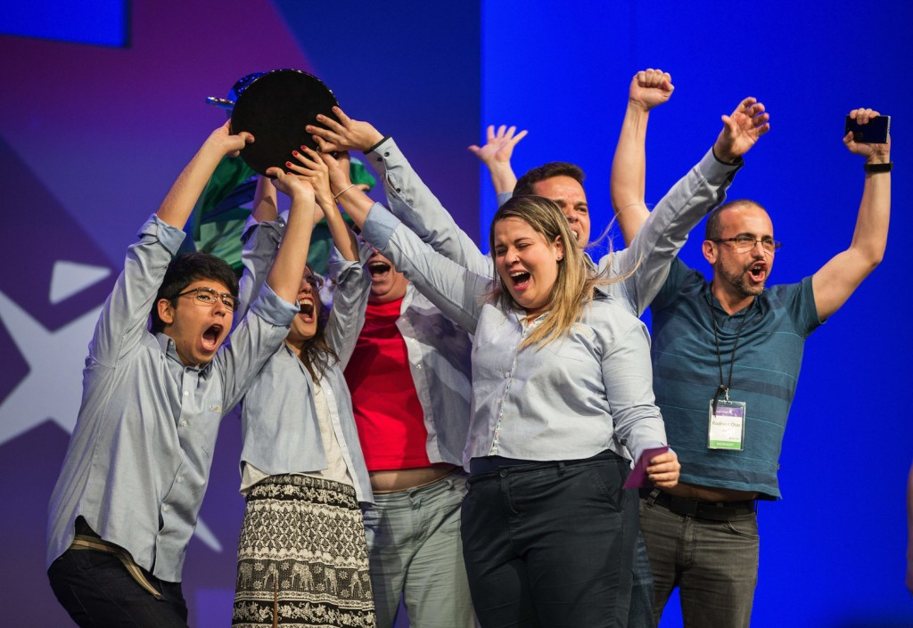 The Brazilian team eFitFashion cheers their victory in Microsoft's Imagine Cup for their idea to create custom fit clothing using technology that will make tailored-fit clothes more widely available.  CEO Satya Nadella presented the winners of the company's Imagine Cup the competition's top prize Friday, July 21, 2015 at the Washington State Convention Center.  (Dean Rutz / The Seattle Times)