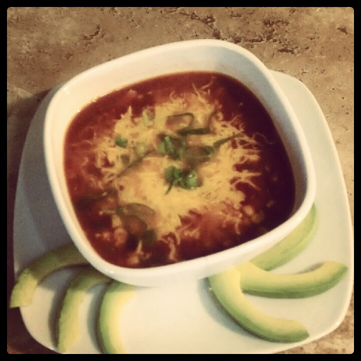 Chicken Enchilada Soup and Avocado