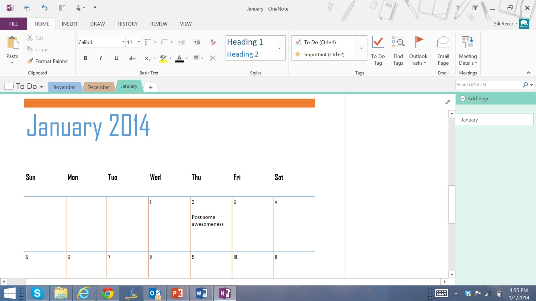 OneNote Screen2