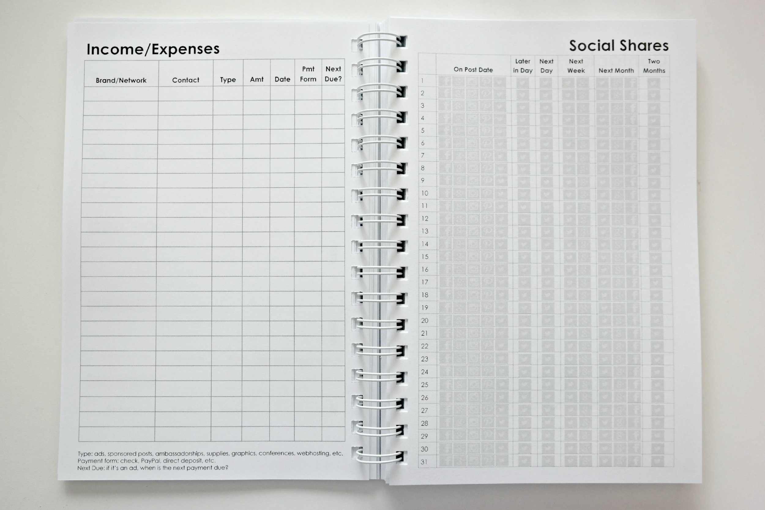 Income/Expenses & Social Shares Tracking