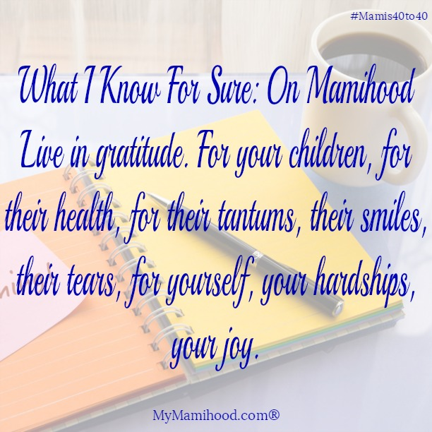 Live in gratitude. For your children, for their health, for their tantrum, their smiles, their tears, for yourself, your hardships, your joy.