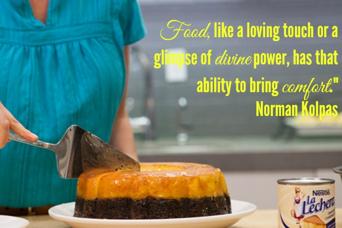 "Food, like a loving touch or a glimpse of divine power, has that ability to bring comfort."" Norman Kolpas"