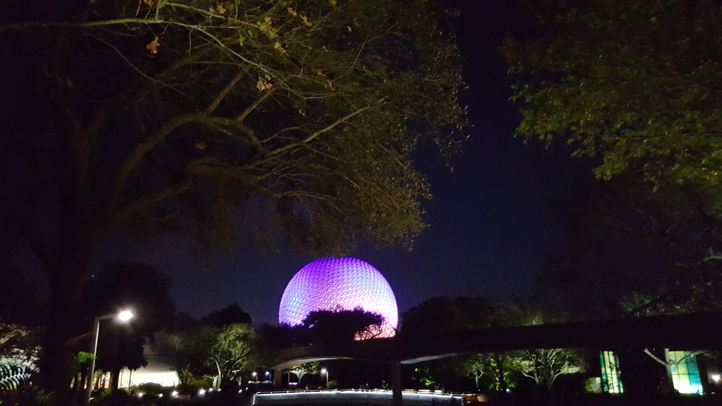 Epcot at night. View from The Land.